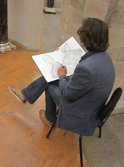 L'artista mentre disegna di Stephen Alcorn